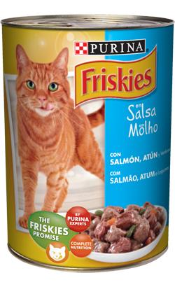 Friskies Gato Adulto Pedaços em molho com Salmão, Atum e Legumes | Wet (Lata)