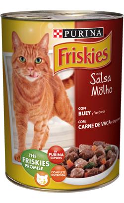 Friskies Gato Adulto Pedaços em molho de Carne de Vaca e Legumes | Wet (Lata)