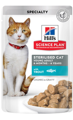 Hills Science Plan Adult Sterilised Cat Young Adult with Trout | Wet (Saqueta)