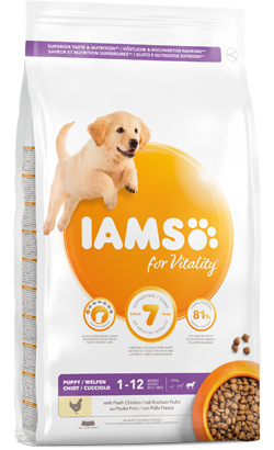Iams for Vitality Large Breed Dog Puppy Food with Fresh Chicken
