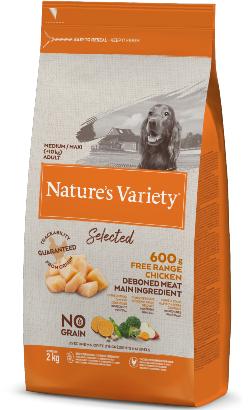 Natures Variety Dog Selected No Grain Medium Maxi Adulto Frango Campo