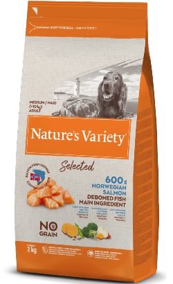 Natures Variety Dog Selected No Grain Medium Maxi Adulto Salmao da Noruega
