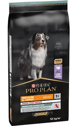 Pro Plan Dog Grain-Free Medium & Large Adult Sensitive Digestion Turkey