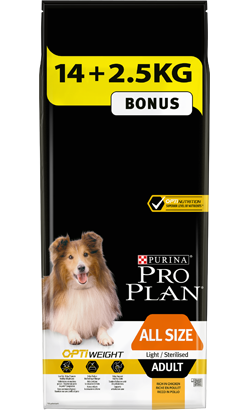 Pro Plan Dog OptiWeight All Size Adult Light / Sterilised Chicken - Bónus