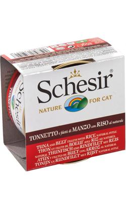 Schesir Cat Atum com Filete de Carne e Arroz ao Natural | Wet (Lata)