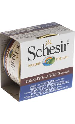 Schesir Cat Atum com Sardinha e Arroz ao Natural   Wet (Lata)