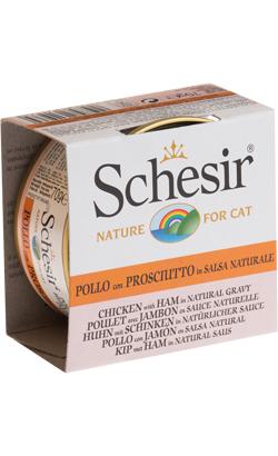 Schesir Cat Frango com Presunto em Molho Natural   Wet (Lata)