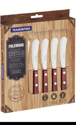 Tramontina Kit Facas Manteiga em Aço Inox Polywood Vermelho