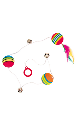 Trixie Rainbow Balls on an Elastic Band