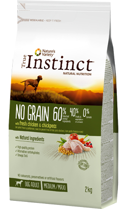 True Instinct Dog Adult No Grain Medium-Maxi Chicken & Chickpeas